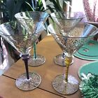 Pier 1 Jubilee Gold Scrolls Trim Footed Rioja Martini Glass Multicolor Set of 4