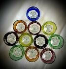 Set of 11 small colorful Bohemian Czeck Crystal Glasses
