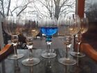 5 Water Wine Goblets 8 Glasses Balloon Hollow Stem Ball rings optic blown