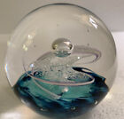 Vintage 1997 Selkirk Blue Art Glass Paperweight Scotland Signed Limited Edition