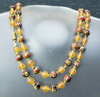 Venetian Brown Millefiori Flower  Matte Knotted Round Glass Bead Necklace 31