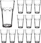 16 oz Glass Drinking Glasses Set of 12 Highball Tumblers Kitchen Clear Beer Bar