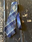 THE CHIEF WEAVERS Native American Vintage Blue Plaid 100 WOOL NECK TIE 1940s