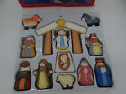Kurt Adler Childs First Nativity Set Wooden Figures Hand Carved Painted 12 Pcs