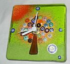 MCM Murano Tree Green Orange Spice Candy Pieces Glass Tile Clock AA Battery