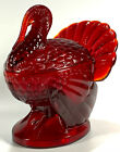 LE Smith Ruby Red Amberina Turkey Candy Dish Covered Glass