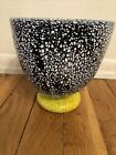 Quazar Studio Art Glass Blue  Yellow Crystal Vase 6  SIGNED