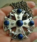 Vintage signed WEISS MALTESE Cross Lapis Glass Pin Pendant Necklace Estate Lot