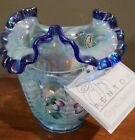 Fenton Glass Open Heart Arches Vase Iridescent Blue Crest Flowers Signed