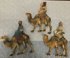 Vintage Set of 3 Wiseman on Camels Christmas Nativity Resin 6 Italy