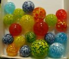 20 Marbles Art Glass Handmade Speckled Guineas Blue Red Multicolor Yellow More