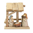 Christmas Nativity Ornament Manger Character With Wooden House Christian