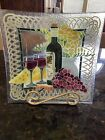 Peggy Karr Glass 13 Wine And Cheese Deep Square Plate Signed