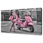 CLASSIC ITALIAN VESPA SCOOTER PINK CANVAS WALL ART PRINT PICTURE READY TO HANG