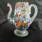 Vintage Millefiori Glass Murano Teapot or Pitcher Applied Handle Multi Color WOW
