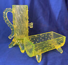 Trough And Pump Vaseline Glass LG Wright Repro Of Northwood Creamer Sugar