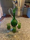 Mid Century Bohemian Green Glass Wine Decanter  3 Glasses Gold Detail