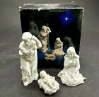 Avon 3 P Nativity Set White Bisque Porcelain Christmas Decor Holy Family Used