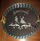 MCM MURANO Twisted Glass Rope Framed Round Etched dresser Mirror