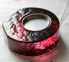 SMYERS ART GLASS PAPERWEIGHT TEA LIGHT CANDLE FIRE LIGHT PURPLE PEBBLED SIGNED