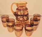 Czech Bohemian Amber Cranberry Glass Pitcher 6 Glasses Etched Roses Gold Stripes