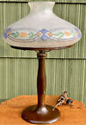 Handel Lamp and Chipped ice Decorated Glass Shade Both Signed