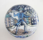 Unique Fireman Paperweight by Tom Mosser Encased Currier  Ives Printed Plaque