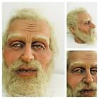 Life Size Wax Old Man Head Realistic Prop Display 11 Vtg Glass Eyes Real Hair