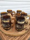 VINTAGE 6 SIESTA WARE WESTERN COWBOY AMBER GLASS BEER MUGS  WITH WOODEN TRAY