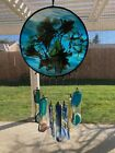 Vintage Blue Glass Sun Catcher w Dried Flowers  Art Glass Chime Bell 5 Dia