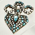 LARGE VINTAGE RHINESTONE GLASS TWO PIECE HEART  BOW BROOCH 35