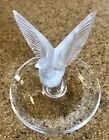LALIQUE France Thalie DOVE Frosted Crystal Spread Wings Ring Dish Tray Bird