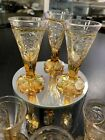 BOHEMIAN CORDIAL SHOT GLASSES SET OF 6 OnAmber CUT TO CLEAR CRYSTAL