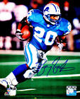 Barry Sanders Signed Lions Blue Jersey Running With Football 8x10 Photo - SS COA