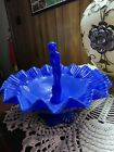 Fenton Art Glass Periwinkle Blue September Morn Bowl with Nymph FFOGKC
