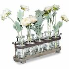 Funsoba Rustic 5 Glass Bottles Bud Vase Set With Wood Metal Tray Home amp
