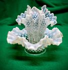 ANTIQUE FENTON FRENCH OPALESCENT HOBNAIL ART GLASS EPERGNE BOWL THREE HORN VASE