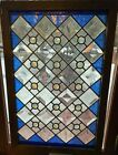 Clear beveled and jeweled stained glass window