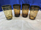 WOODLAND HOME STUDIO Amber Brown Glass Etched Tall Tumblers Set of 4 NICE