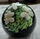 Twist Glass Mike Hunter Signed Paperweight Floral Crown