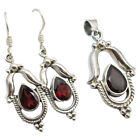925 Sterling Silver Red GARNET CUT STONE 51 TCW Earrings Pendant Set 92 gms