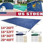 Pool Safety Cover Rectangle Winter In Ground Swimming Pool Mesh Cover Foldable