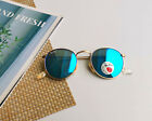 Ray Ban Sunglasses RB3447 Round Flash Lenses Gold Blue Unisex 50mm