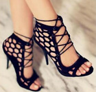 Women Ankle Strap High Heel Hollow Out Pumps Sandals Retro Sexy Shoes Club Party