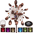 Solar Wind Spinner Multi Color LED Light by Solar Powered Glass Ball Wind Mill