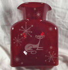 Blenko Glass 384 MCM Mid Century Modern Kitty Ruby Red Water Bottle Starburst