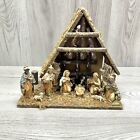 Vintage Manger Nativity Christmas Scene Made In Italy 13x11 Baby Jesus