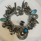 Vintage Sterling 925 Silver Charm Bracelet South West Native American Turquoise