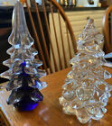 Murano Style Art Glass Christmas Trees Clear  Cobalt Set of 2