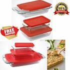 Kitchen Casserole Set Rectangle Clear Baking Dish With Lids 6 Pieces Glass NEW